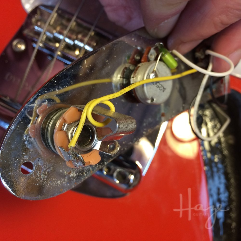 Tighten Guitar Jacks From The Outside Haze Guitars Wiring A Plug Spinning Can Twist And Break Hook Up Wires Leaving You With No Output