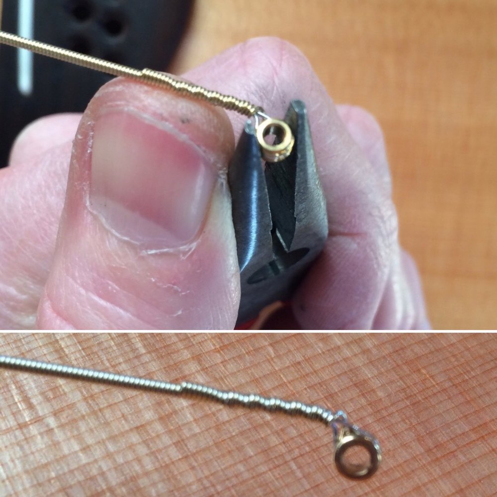 Pre-bending the string end can help guide the ball into the best position.
