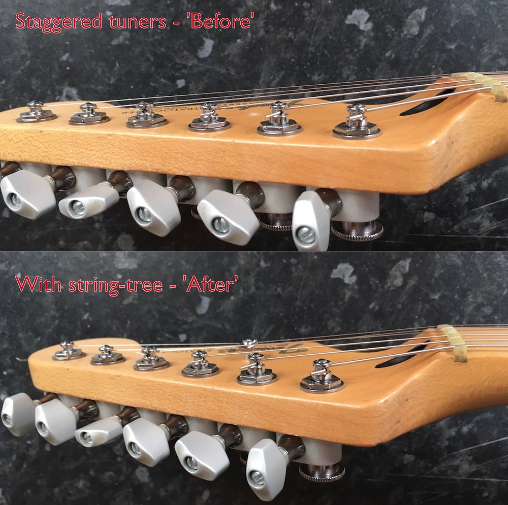 Staggered Tuners and String Tree: Before and After
