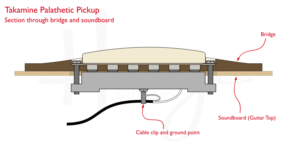 Takamine Palathetic undersaddle pickup - section through bridge and soundboard