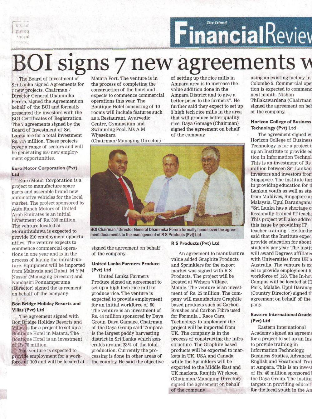 RS Mines and BOI, Sri Lanka Financial Times News article