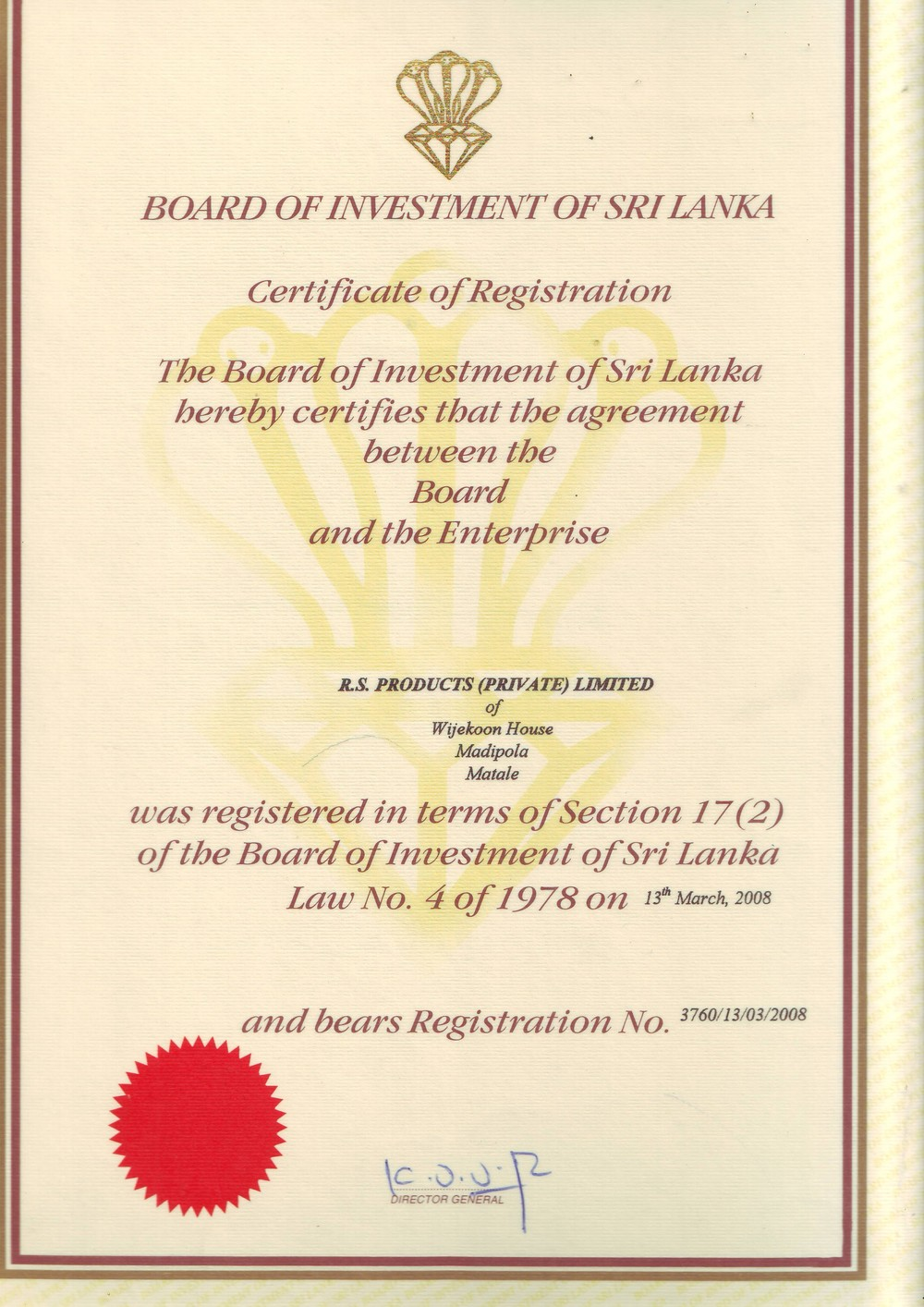 BOI Registration Certificate