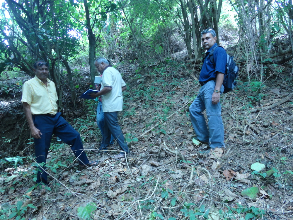Vice President of the Geological Society of Sri Lanka (Department of Geology - University of Peradeniya) – Professor Mahinda Premathilake executing the VLF scan at RS Mines', The Queen's Graphite Mine with RS Mines Chairman, Ranjith Wijekoon and Queen's Mine Ground Opps Manager, Shevon Antony Peiris