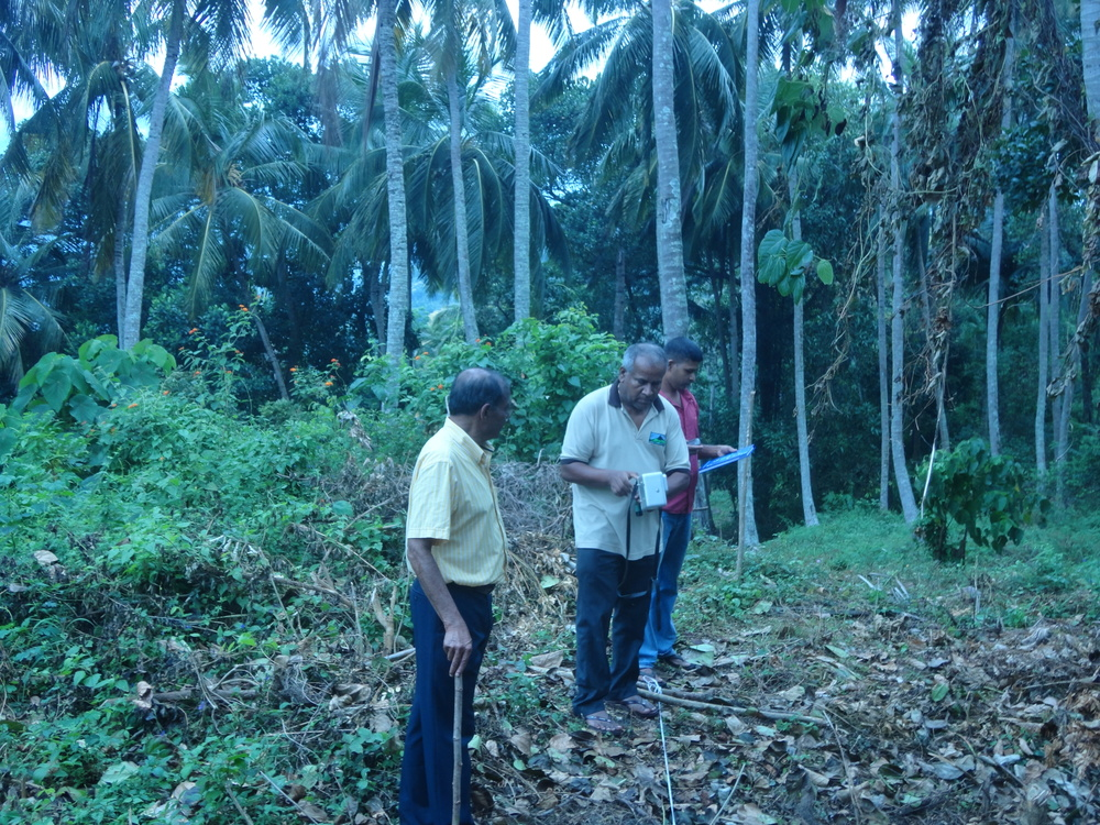 Vice President of the Geological Society of Sri Lanka (Department of Geology - University of Peradeniya) – Professor Mahinda Premathilake executing the VLF scan at RS Mines', The Queen's Graphite Mine with RS Mines Chairman, Ranjith Wijekoon