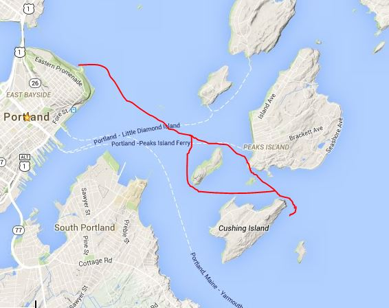 THE ROUTE TO WHITEHEAD PASSAGE WITH A DETOUR AROUND HOUSE ISLAND