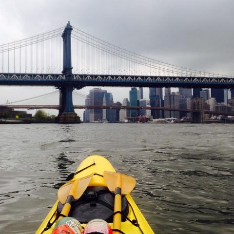 Paddling under the Brooklyn Bridge