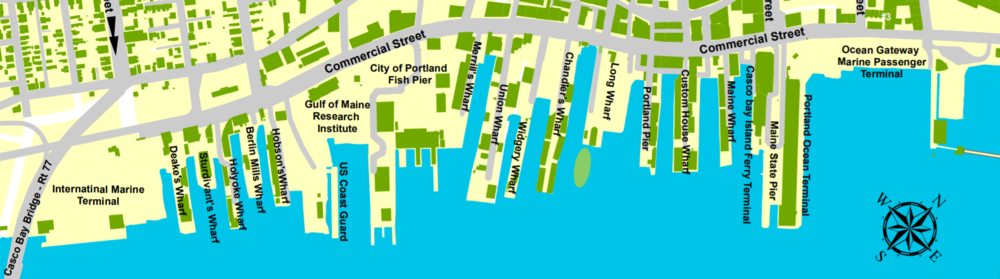 The many wharves of Portland Harbor. Click on the map above to expand the image.