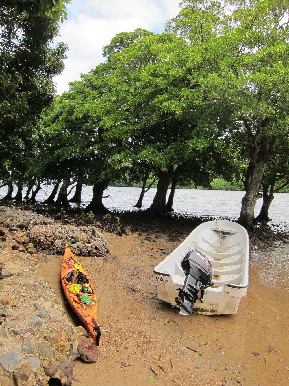 12  Looksha and fishing boat, low tide, Kadavu Village.jpg