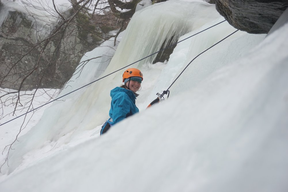 Sarah has been ice climbing and hiking in the White Mountains