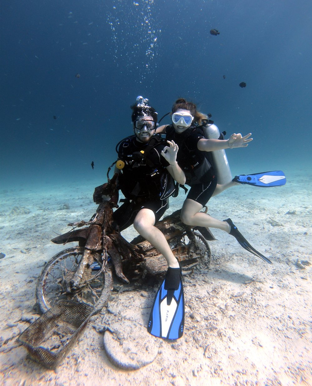 Taylor has been riding motorcycles along the seafloor in Thailand