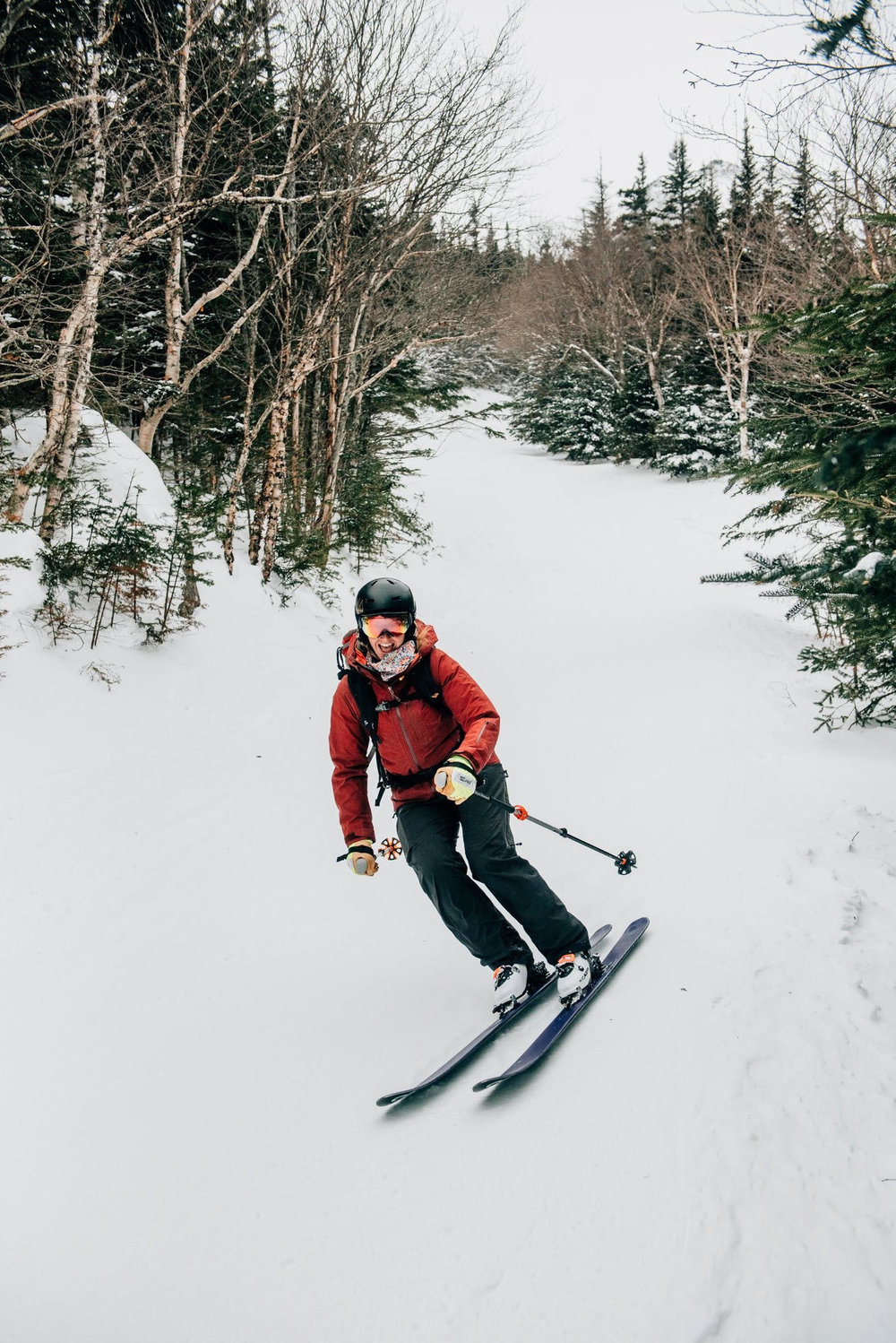 Abby King has been teaching backcountry skiing courses in the White Mountains