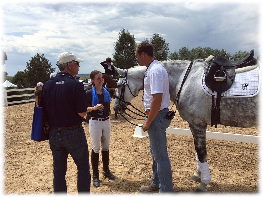 (L to R) USDF President and Junior/Young Rider coach George Williams, Jenna Upchurch, Greystoke, & Martin Kuhn