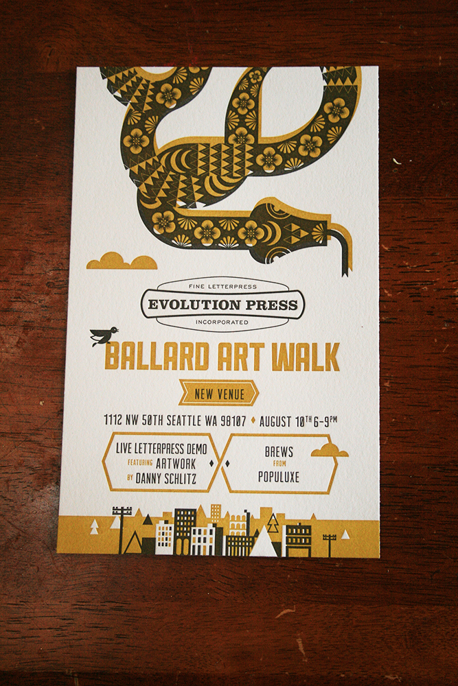 Letter press invite for Art Walk in Ballard.