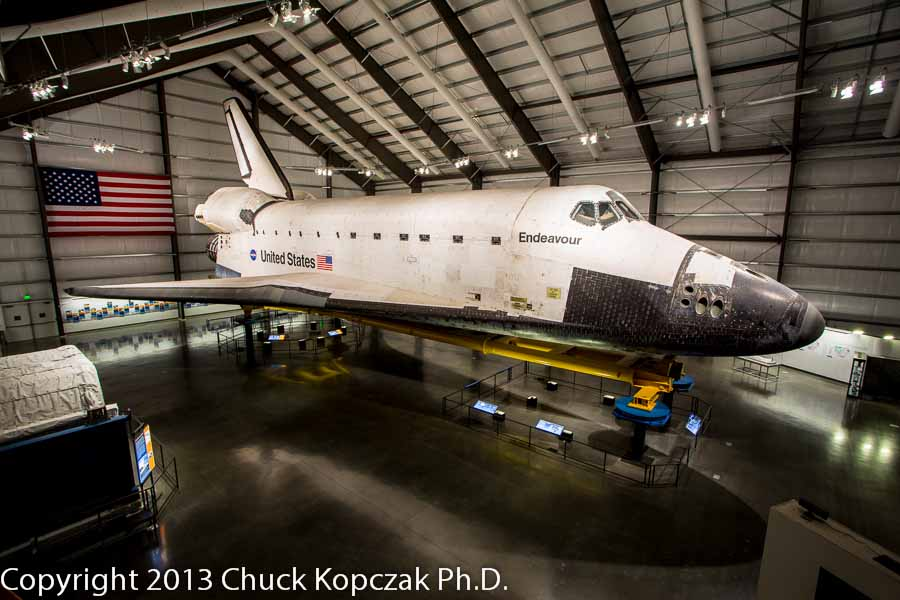 The space shuttle Endeavour in its temporary home at the California Science Center in Los Angeles.