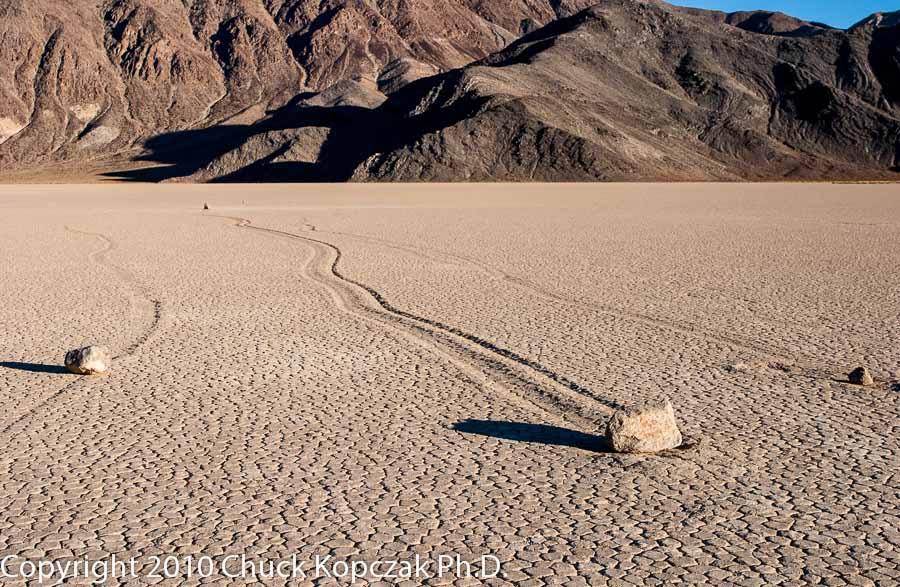 The strange lunar landscape at the Racetrack in Death Valley National Park.