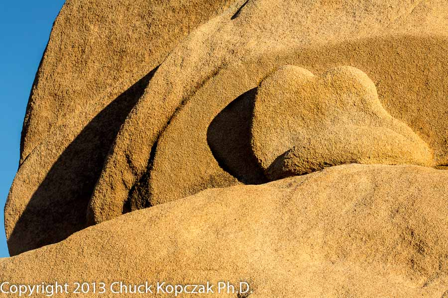 Sunrise paints shadows on a monzogranite outcropping in Joshua Tree National Park in California.