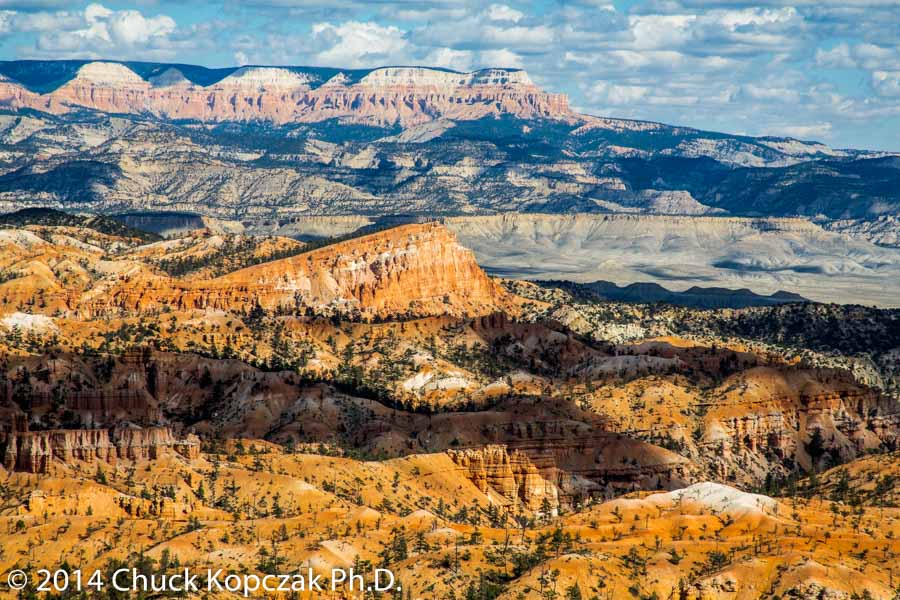 View of Aquarius Plateau from the main amphitheater at Bryce Canyon National Park overlooking Sinking Ship Mesa.