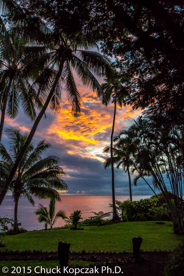 The sun sets over the Somosomo Strait which separates the Fijian Islands of Taveuni and Vanua Levu.