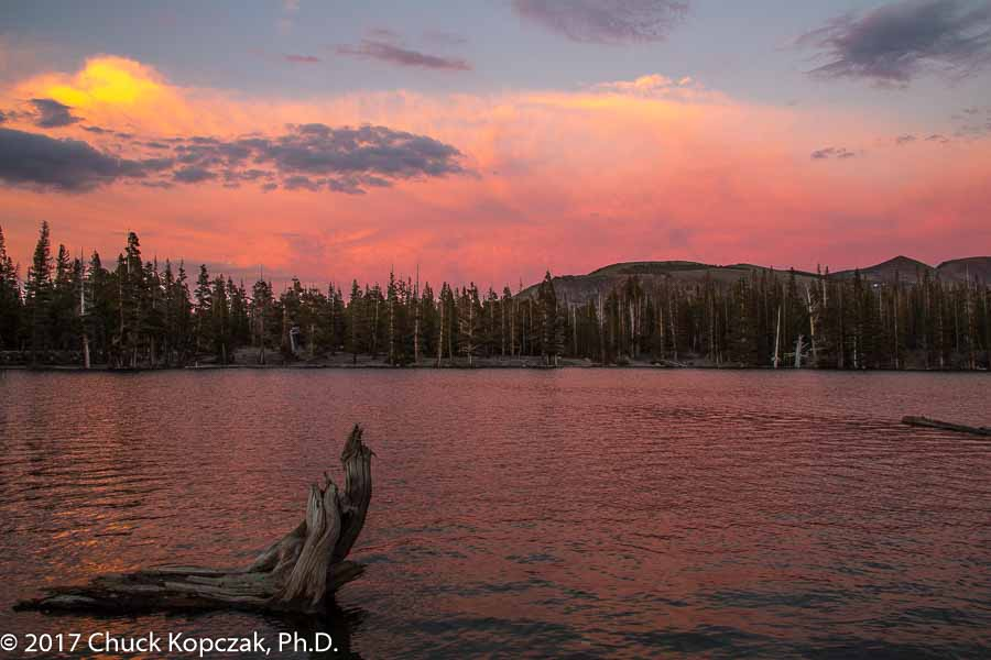 Sunset over Horseshoe Lake in the Eastern Sierra Nevada Mountains.
