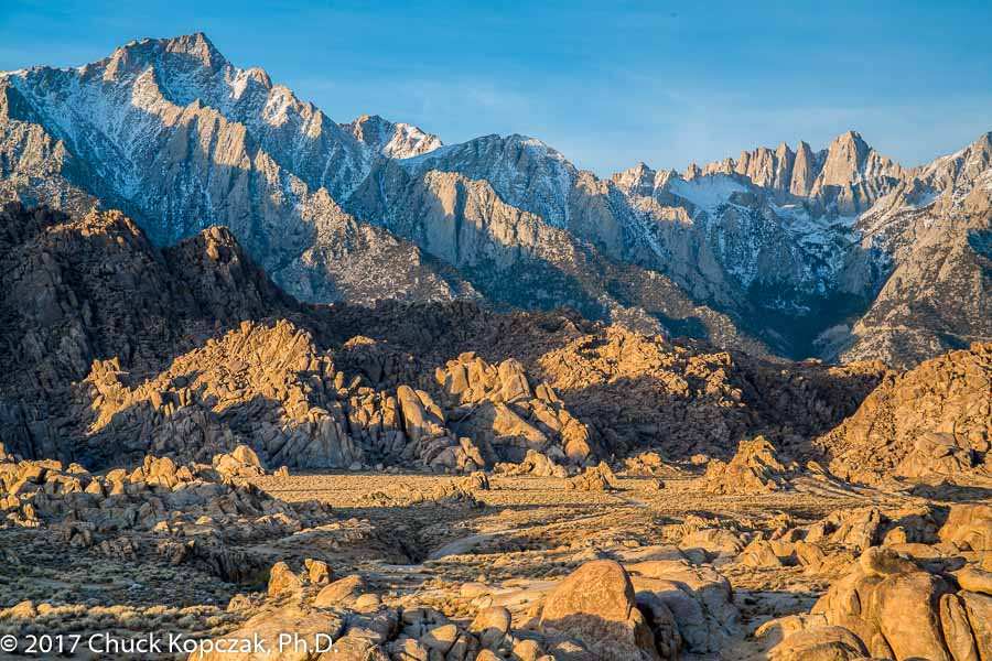 Early morning light on the eastern face of the Sierra Nevada range in California.