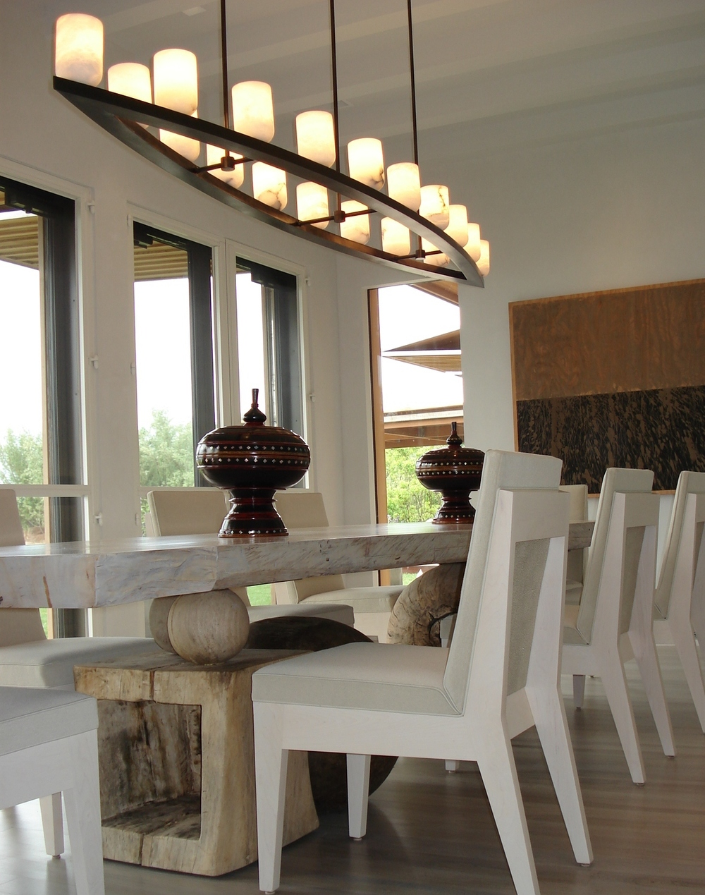 dining room - with custom chandelier & table