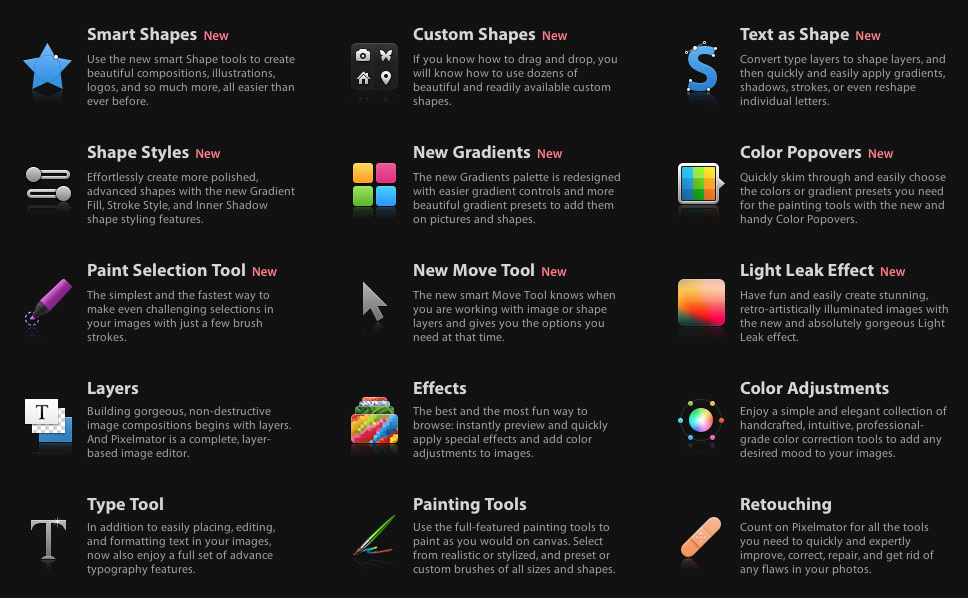 Pixelmator's new features (click for a larger view)