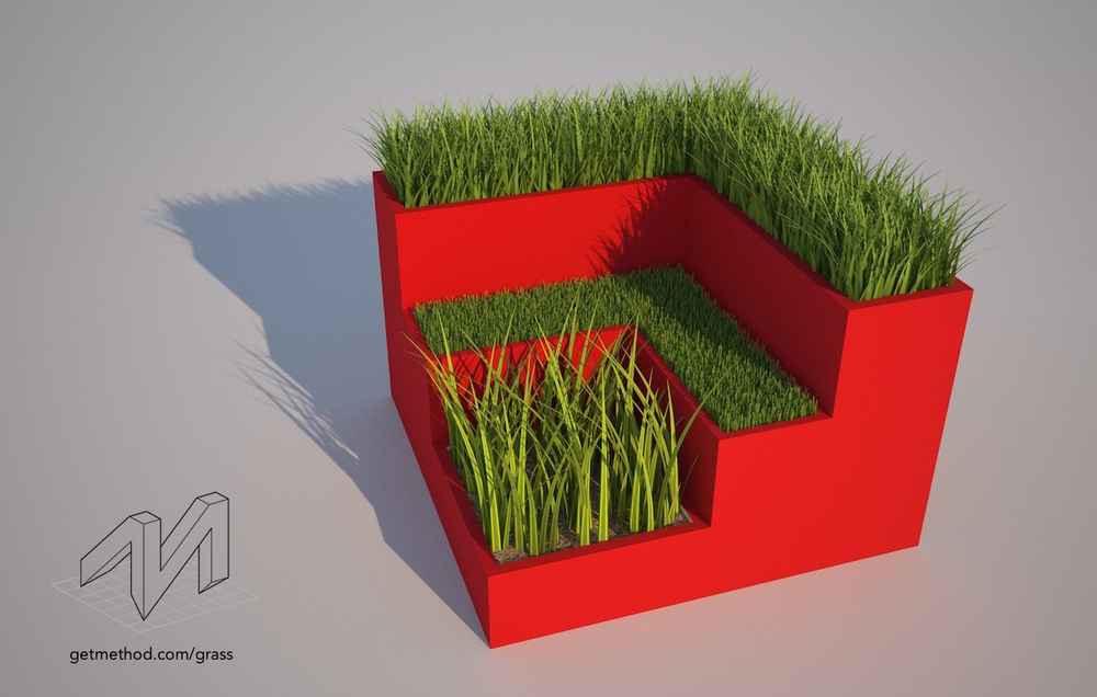 Using Method's grass preset pack with Maxwell Render for SketchUp.