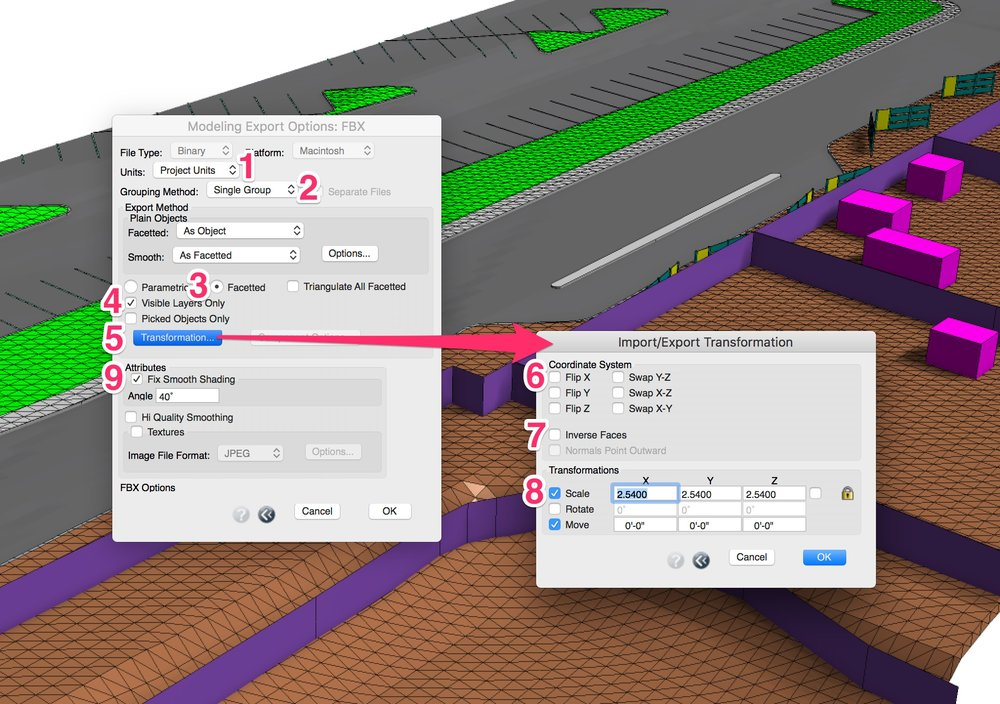 Form•Z's FBX format export settings. Click to embiggen.