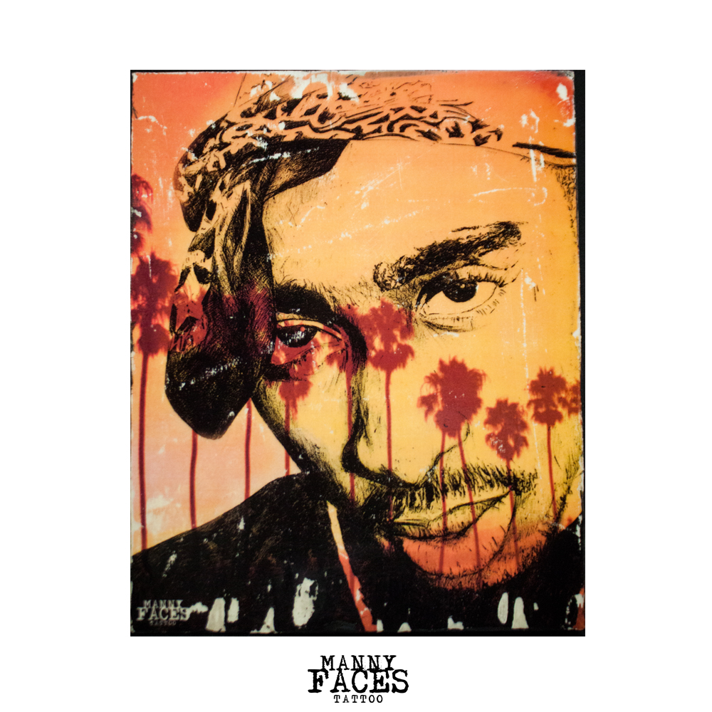 "Custom 8"" x 10"" Gallery Art  '2 Pac'  by Manny Faces  Available by pre-order only."