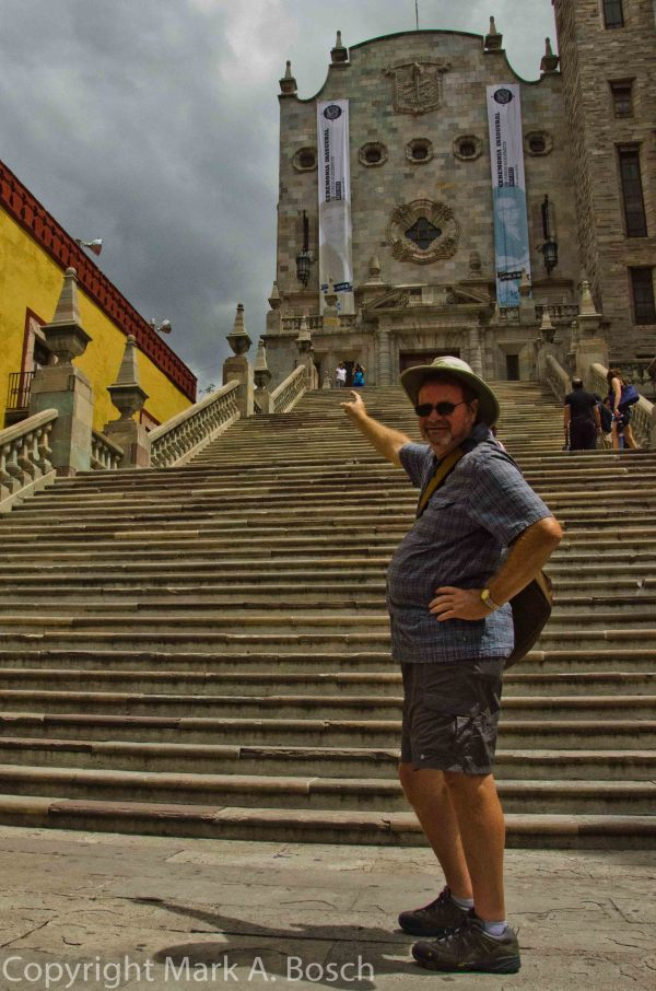 Dave points to the brave ones who scaled the steps of the University of Guanajuato College of Architecture.