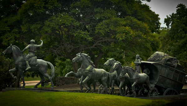 Park Sculpture honoring early pioneers and indians