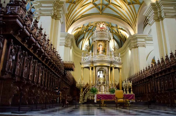 The main altar in Cathederal of Lima, Peru