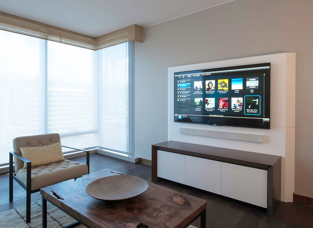 Custom Designed Living Room Media Console With AV Wall & Home Theater Audio System. Click Image For Gallery.