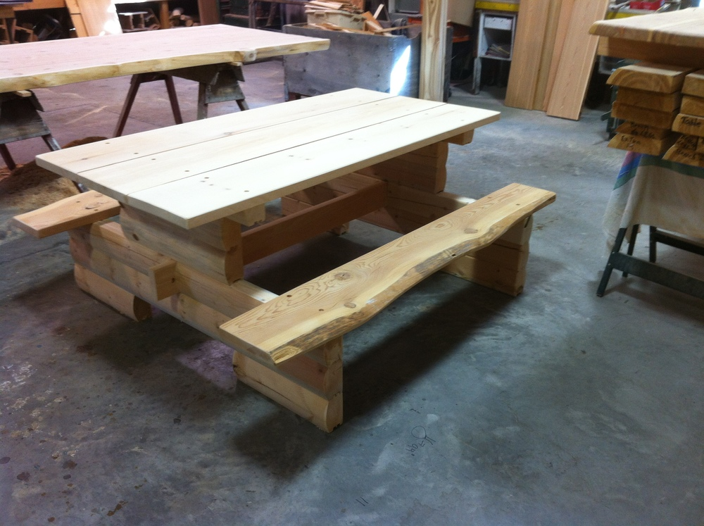 Pine log picnic table with live edge Fir seats