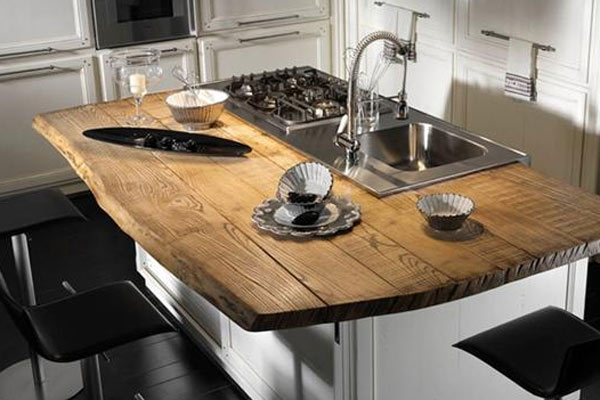 Live edge natural wood accents rouck bros log homes for Natural edge wood countertops