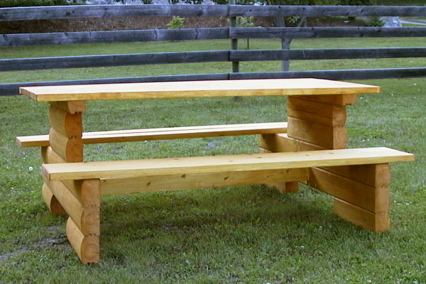 Cedar log picnic table