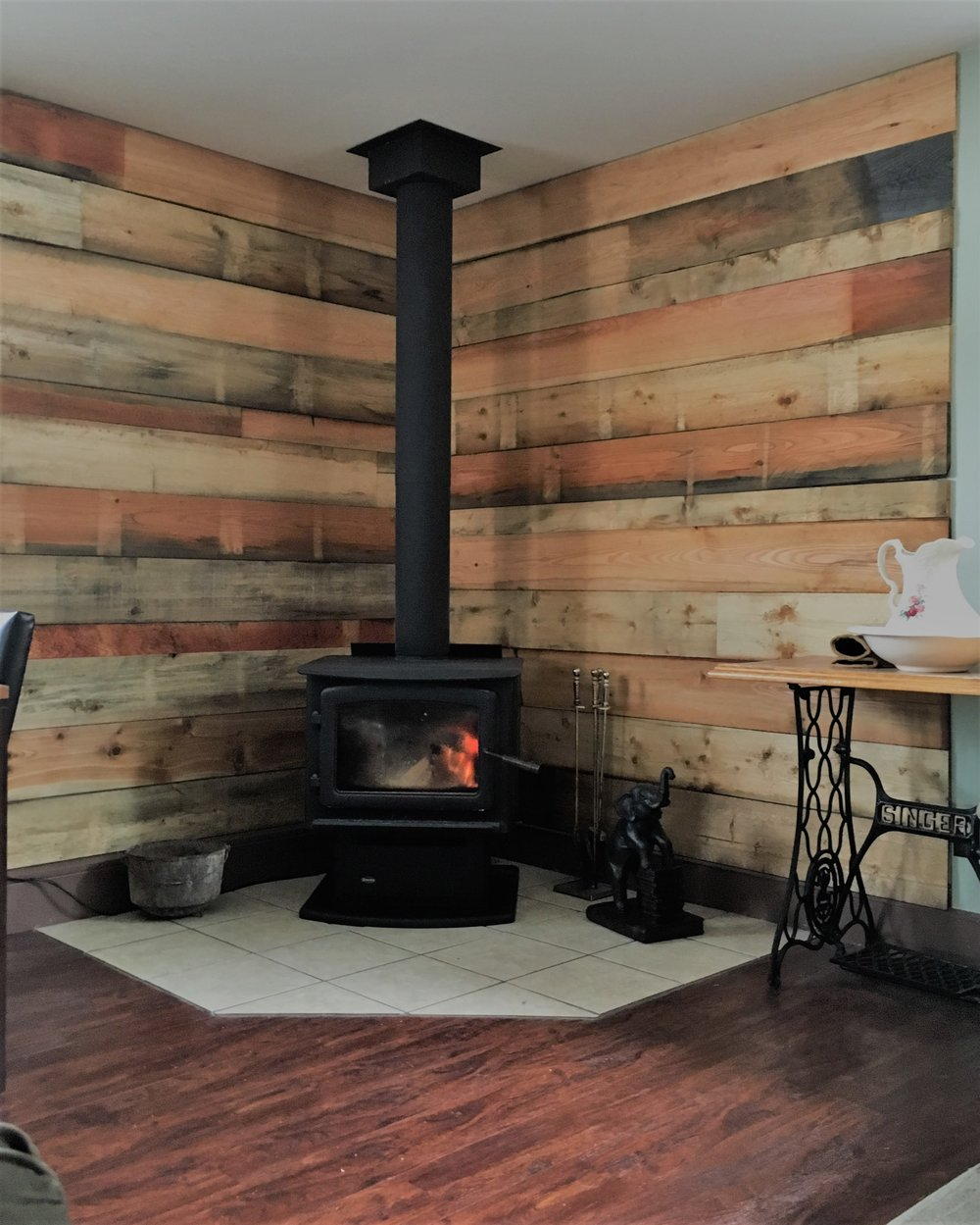 Pine Accent Wall: Natural Wood Accents — Rouck Bros Log Homes