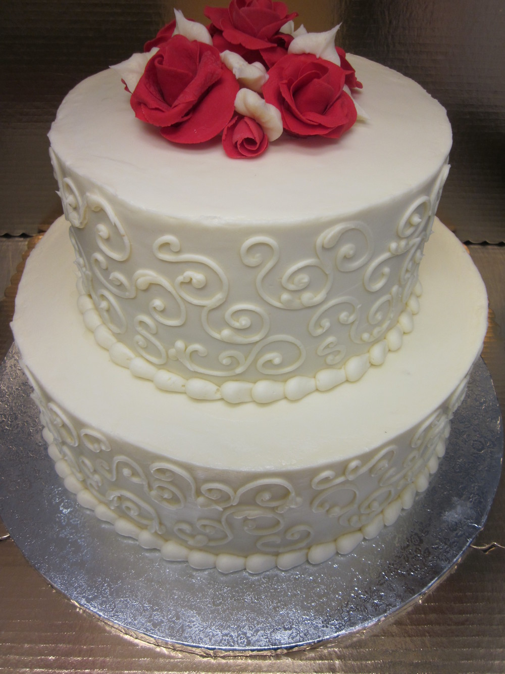 Red Roses and Scroll Wedding Cake