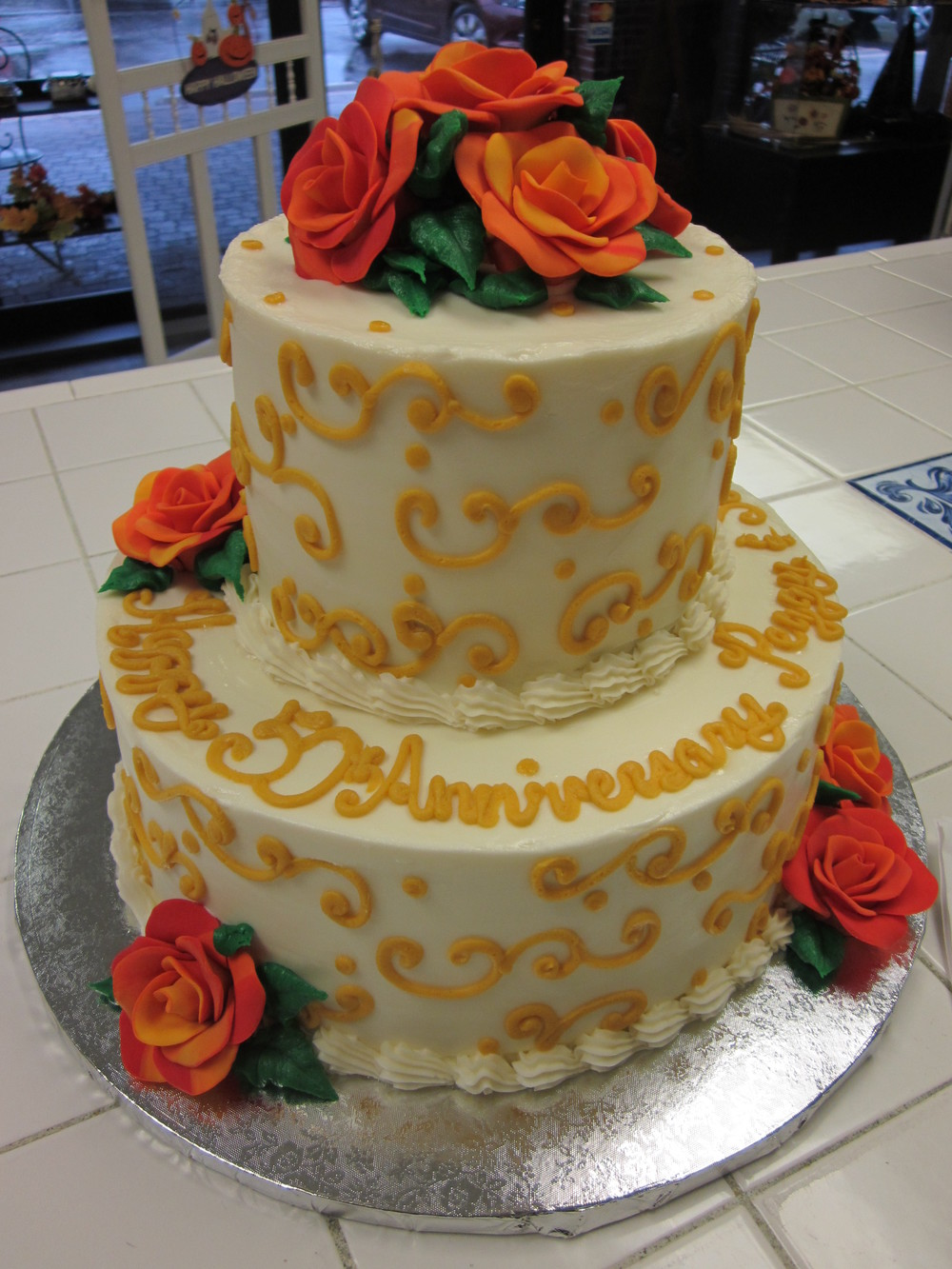 Yellow Scroll and Orange Roses