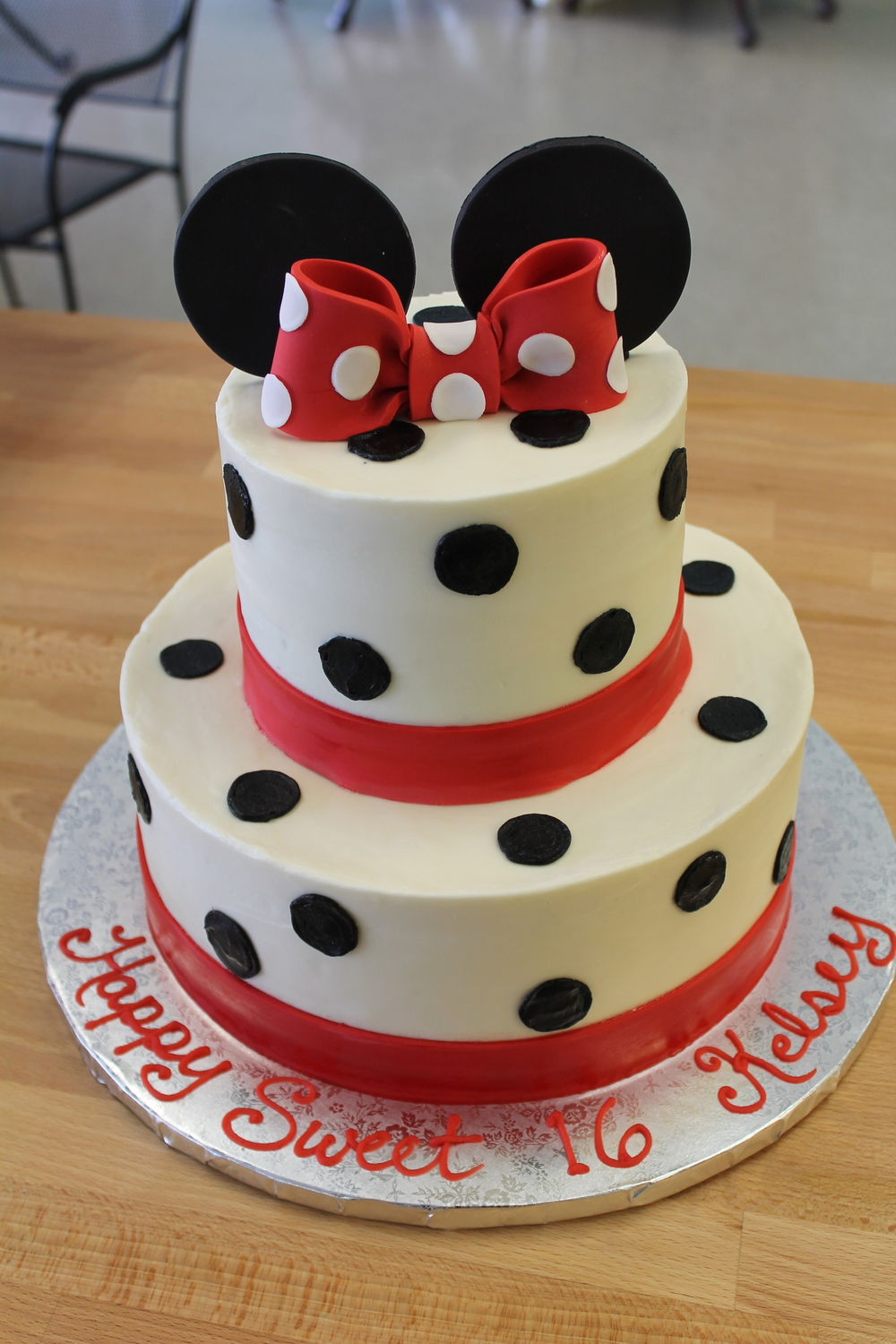 Black Polka Dots, Red Bow Cake