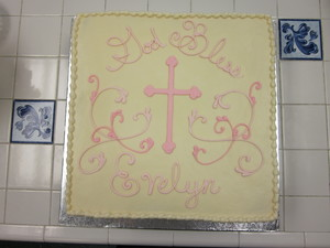 Simple Pink Cross and Scrollwork