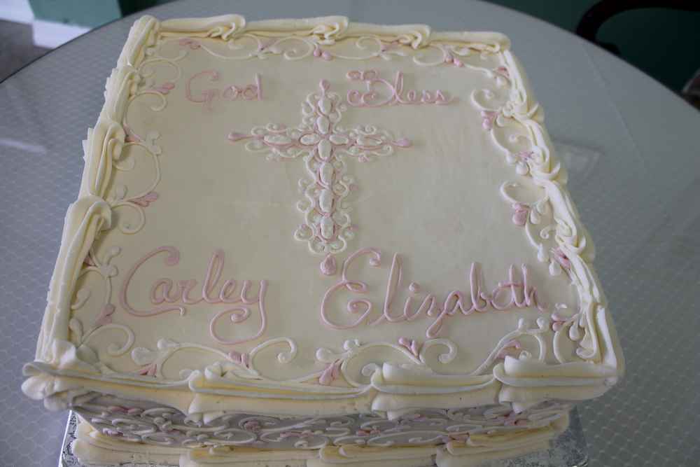 Pink and White Filigree Cross Cake 057