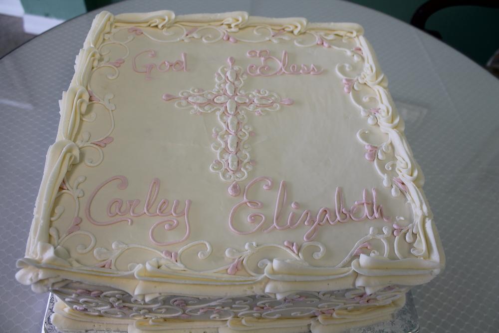 Pink and White Filigree Cross Cake 057