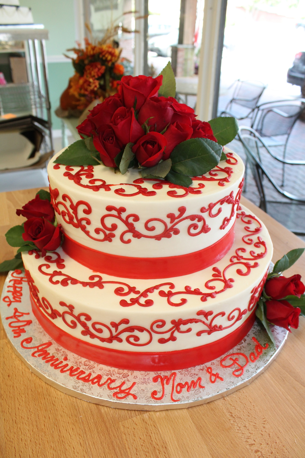 Red Roses Anniversary Tier Cake