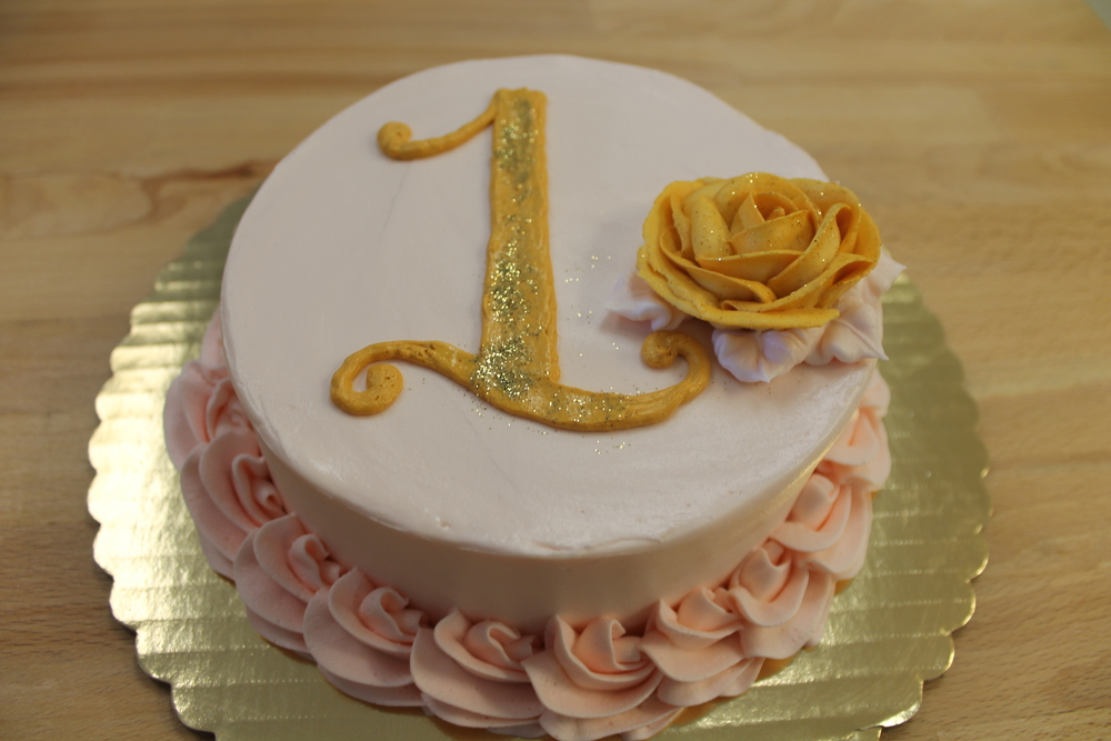 Pink and Gold Smash Cake