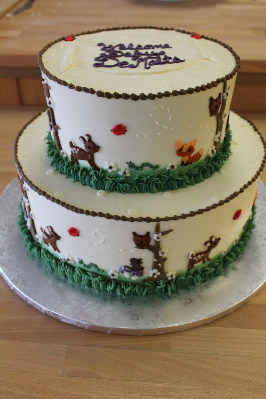 Baby Forest Animals Tier Cake
