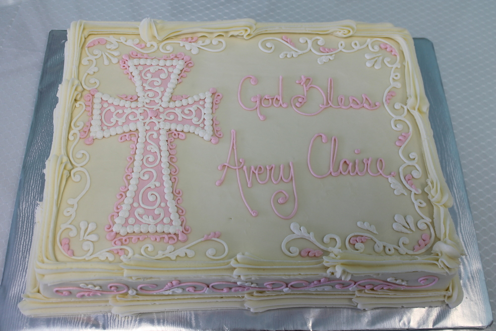 Pink Filigree Cross Cake 066