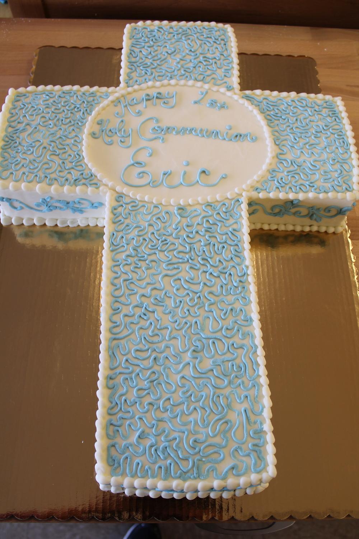 Blue Swirls Holy Communion Cake 071