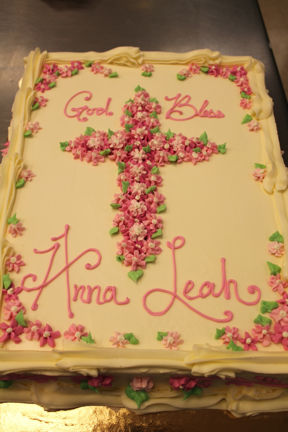 Communion Cake with Pink Flowered Cross 090