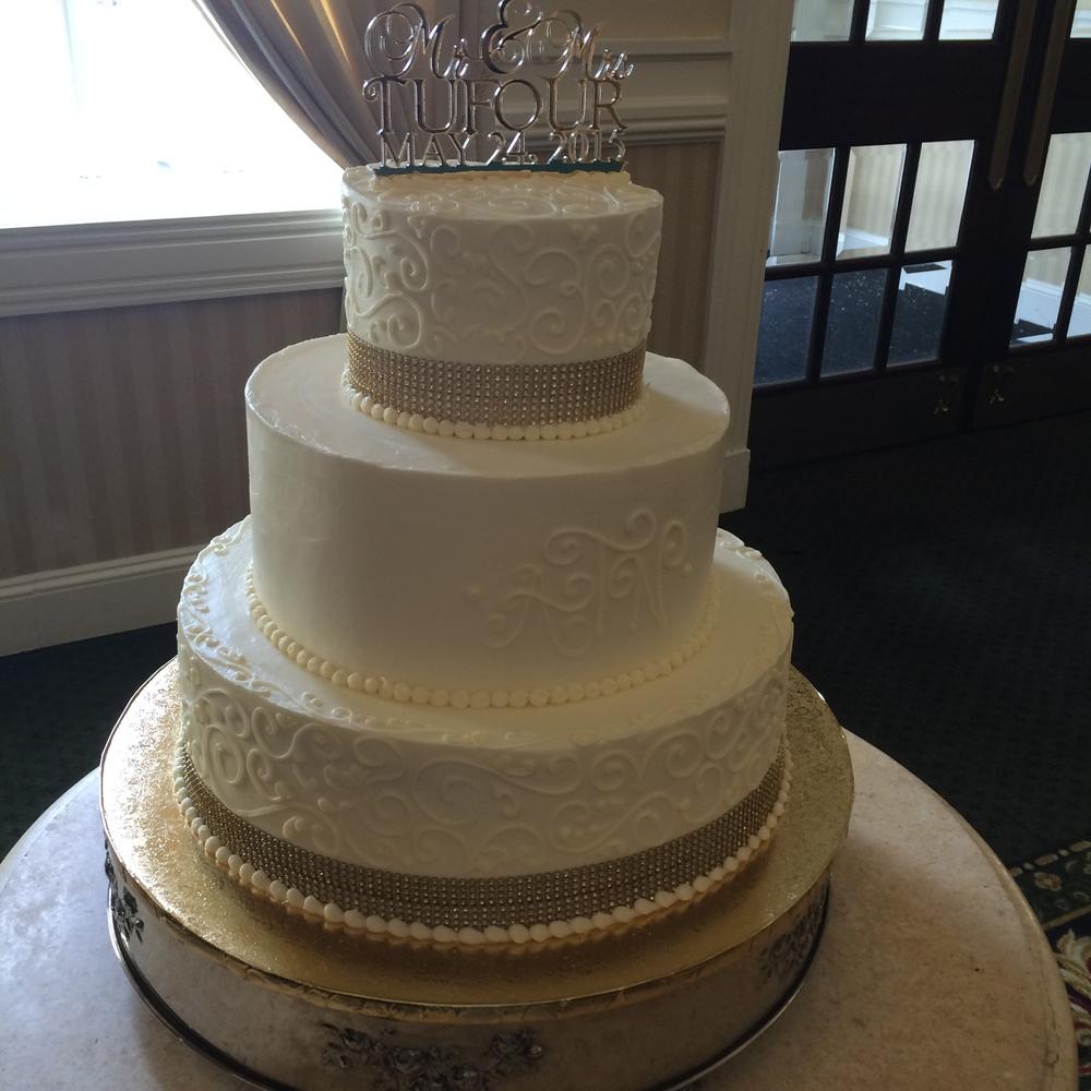 Gold Ribbon and Scroll Work Wedding Cake
